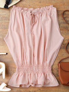 Batwing Smocked Ruffles Top - Pink Xl
