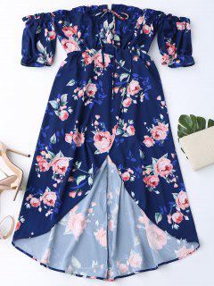 Off Shoulder High Low Floral Dress - Purplish Blue M