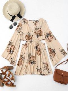 Cut Out Floral Surplice Mini Dress - Floral S