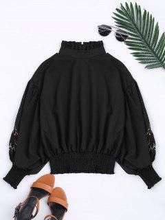 Puff Sleeve Floral Embroidered Ruffled Blouse - Black Xl
