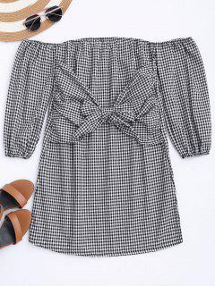 Off The Shoulder Bowknot Checked Dress - Checked S