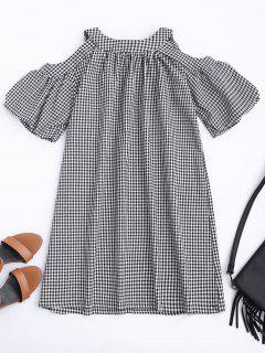 Cold Shoulder Puff Sleeve Checked Dress - Checked S