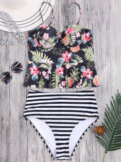 Striped Floral Ruffles High Waisted Tankini - Stripe S