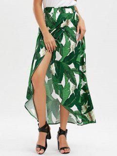 Leaf Tropical Print Wrap Skirt - Green 2xl