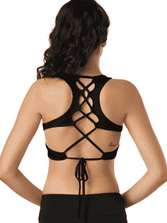 Scoop Cutout Lace Up Padded Activewear Bra - Black L