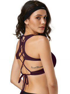 Cut Out Back Lace Up Padded Sporty Bra - Burgundy L