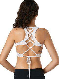 Back Lace Up Padded Sporty Bra - White L