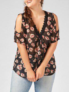 Plus  Size Deep V Neck Floral Chiffon Top With Lace Trim - Black 4xl