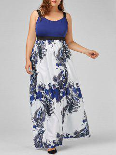 Floral A Line Plus Size Maxi Prom Dress - Blue 3xl