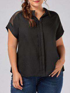Plus Size Openwork V Neck Plain Blouse - Black 3xl