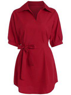 Plus Size V Neck Work Shirt With Belt - Red 2xl
