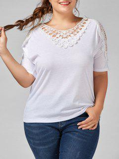 Crochet Trim Cold Shoulder Plus Size Top - Blanc 5xl