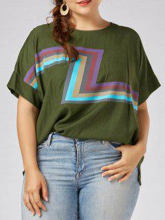 Plus Size Zigzag Graphic Plain T-shirt - Green 3xl