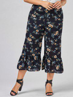 Floral Wide Leg Plus Size Pants - 4xl