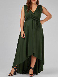 V Neck High Low Plus Size Prom Dress - Army Green Xl