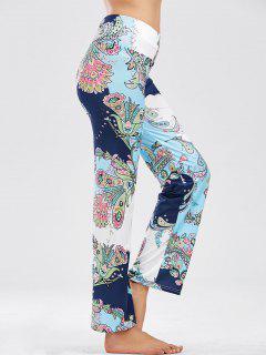 Floral Print Elastic Waist Wide Leg Pants - Multi S