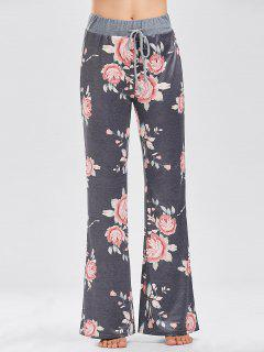 Floral Print Casual Drawstring Pants - Deep Gray Xl