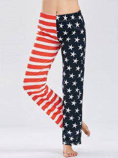 Casual Patriotic American Flag Print Pants - Blue S