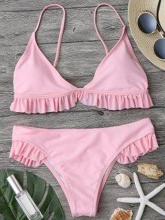 Ruffle Padded Plunge Bikini Set - Pink L
