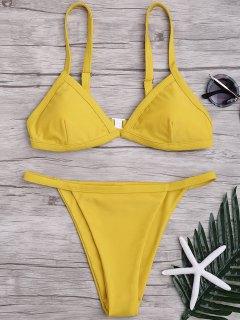 Bikini à Taille Basse à Couleur Pure à Bretelle Spaghetti - Jaune L