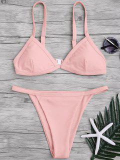Solid Color Spaghetti Straps Low Waisted Bikini Set - Pink Xl