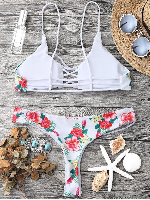 women's Floral Lattice Strappy Bikini Set - WHITE M Mobile