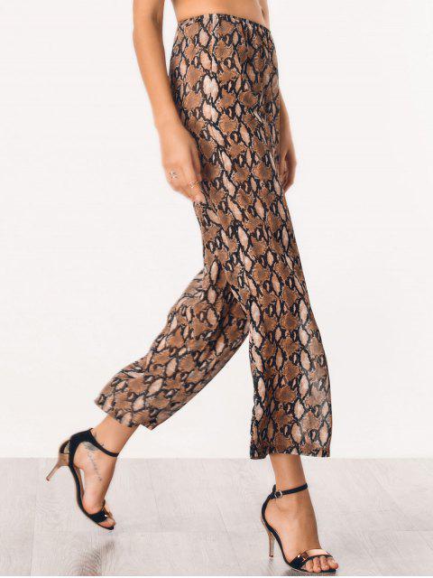 Pantalons à jambe large imprimé serpent graphique en mousseline de soie - BRUN L Mobile