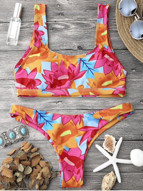 new Scoop Neck Sporty Bralette Bikini Set - MULTICOLOR S Mobile