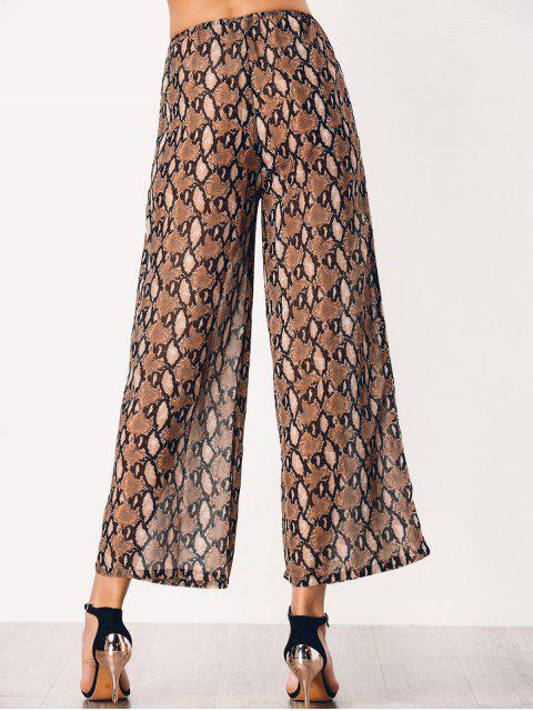 trendy Chiffon Snake Graphic Wide Leg Pants - BROWN M Mobile
