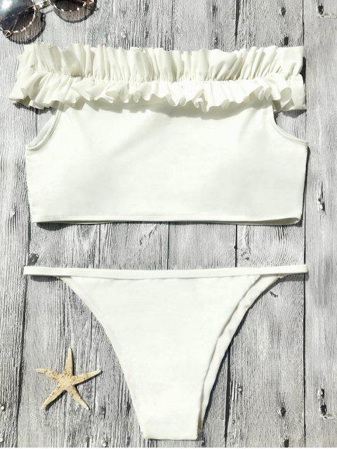 affordable Off The Shoulder Frilled Bikini Set - OFF-WHITE S Mobile