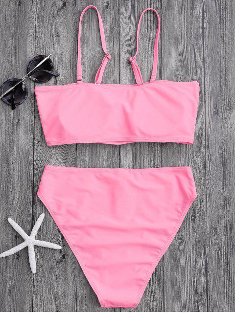 womens Padded High Cut Bandeau Bikini Set - PINK M Mobile