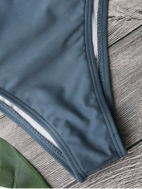 new Ruffle Padded Plunge Bikini Set - STONE BLUE S Mobile