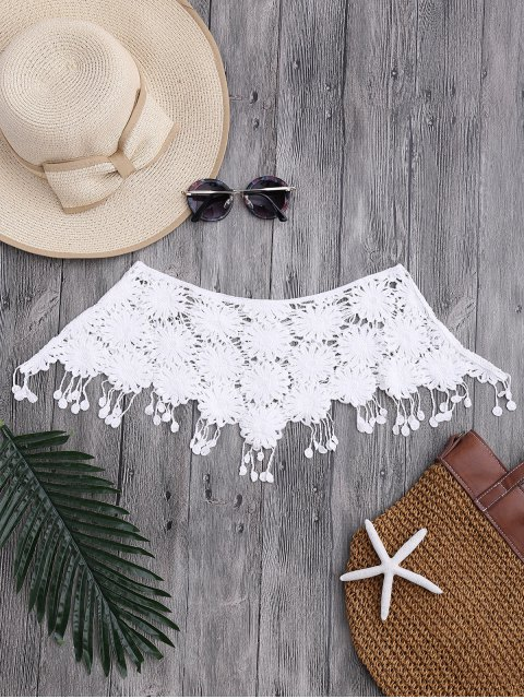 trendy Tassels Tube Crochet Cover Up Top - WHITE ONE SIZE Mobile
