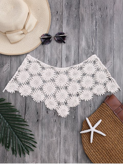 Tube Sun Flower Crochet Cover Up Top - Blanc Cassé TAILLE MOYENNE Mobile