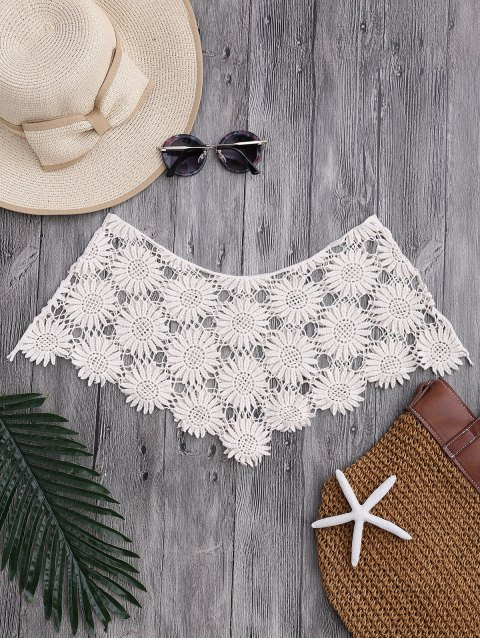 fashion Tube Sun Flower Crochet Cover Up Top - OFF-WHITE ONE SIZE Mobile