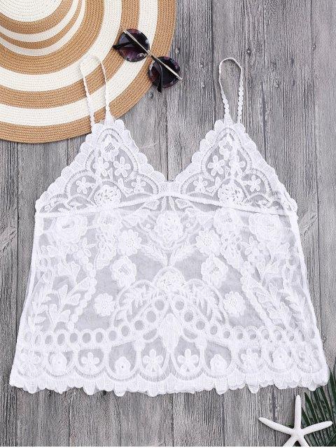 Top blouse cami floral en crochet - Blanc Taille Unique Mobile