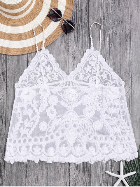 womens Cami Floral Crochet Cover Up Top - WHITE ONE SIZE Mobile