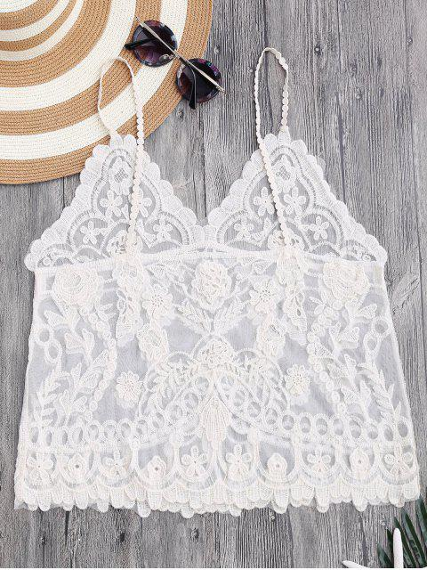 women Cami Floral Crochet Cover Up Top - OFF-WHITE ONE SIZE Mobile