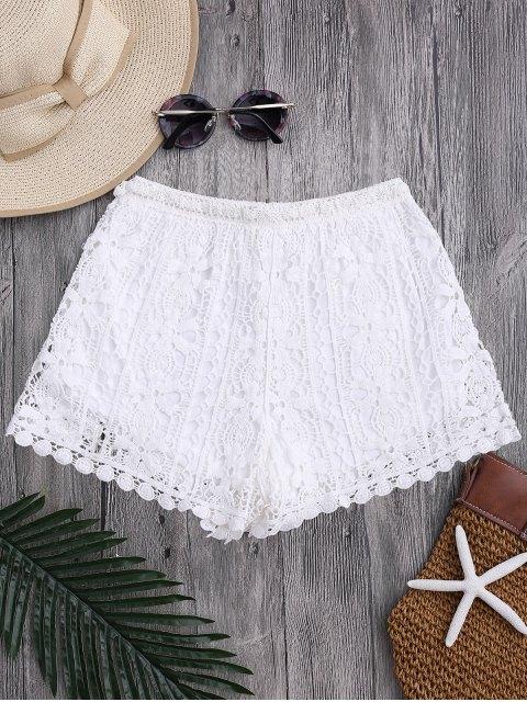 Shorts avec cordon et couverture en crochet fleur - Blanc TAILLE MOYENNE Mobile