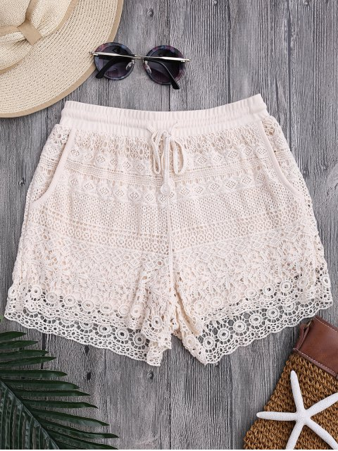 ladies Pockets Lined Drawstring Crochet Cover Up Shorts - OFF-WHITE ONE SIZE Mobile