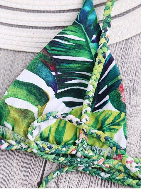 fancy Braided Straps Leaf Print Thong Bikini - FLORAL L Mobile