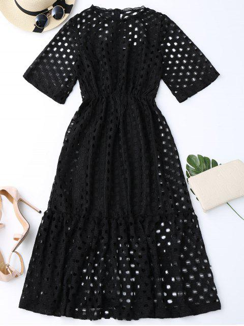 hot Hollow Out Ruffle Dress with Tank Top - BLACK L Mobile