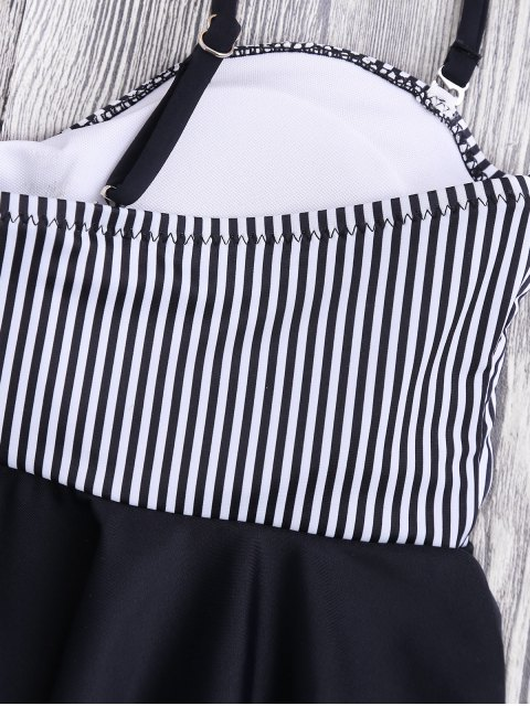 fashion Cami Striped Ruffles Peplum Tankini - STRIPE S Mobile