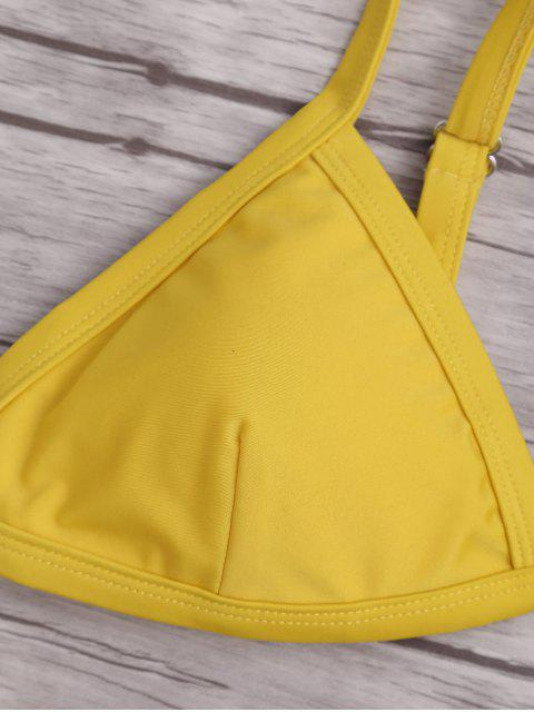 womens Solid Color Spaghetti Straps Low Waisted Bikini Set - YELLOW M Mobile