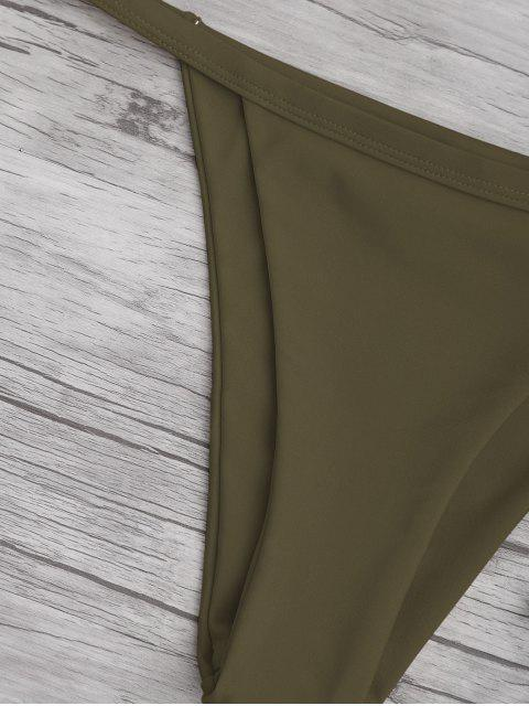best Solid Color Spaghetti Straps Low Waisted Bikini Set - ARMY GREEN S Mobile
