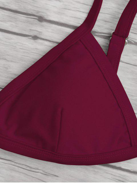 new Solid Color Spaghetti Straps Low Waisted Bikini Set - BURGUNDY L Mobile