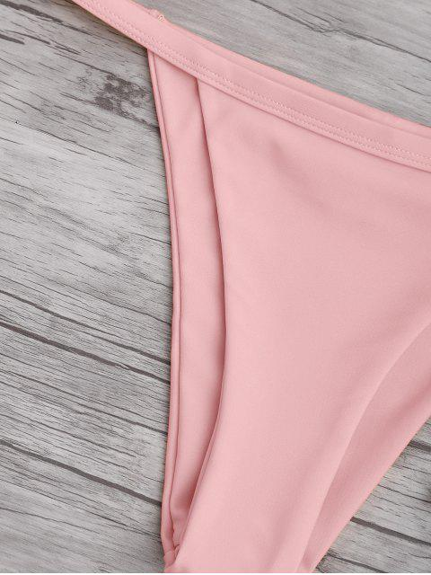 outfits Solid Color Spaghetti Straps Low Waisted Bikini Set - PINK XL Mobile