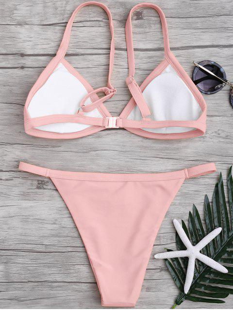shop Solid Color Spaghetti Straps Low Waisted Bikini Set - PINK L Mobile