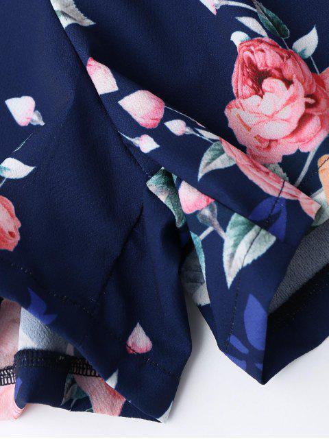 women Criss Cross Cami Floral Romper - PURPLISH BLUE XL Mobile