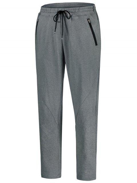 Drawstring Sweatpants with Zip Pocket - Gris XL Mobile
